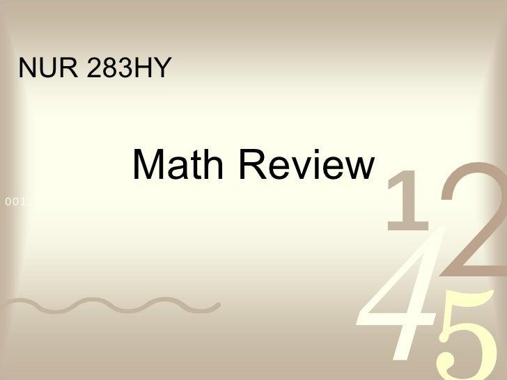 Math Review NUR 283HY