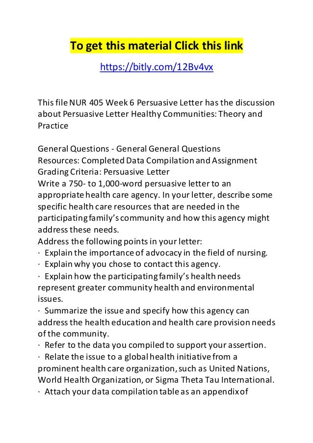 NUR 405 - Healthy Communities Theory and Practice