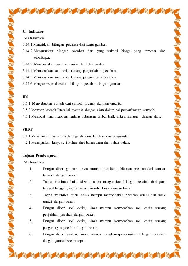 Perangkat Pembelajaran Tematik Sd Kelas 4 Semester 1 Tema 3
