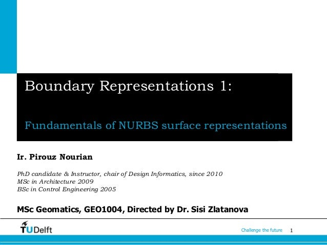 1Challenge the future Boundary Representations 1: Fundamentals of NURBS surface representations Ir. Pirouz Nourian PhD can...