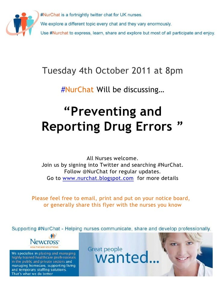 """Tuesday 4th October 2011 at 8pm           #NurChat Will be discussing…      """"Preventing and   Reporting Drug Errors """"     ..."""
