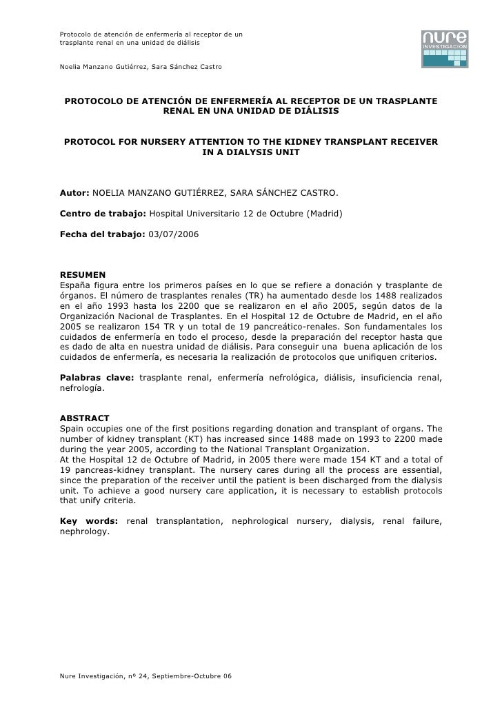 Protocolo de atención de enfermería al receptor de untrasplante renal en una unidad de diálisisNoelia Manzano Gutiérrez, S...