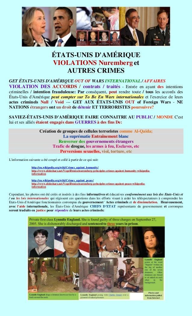 ÉTATS-UNIS DAMÉRIQUE                                VIOLATIONS Nuremberg et                                   AUTRES CRIME...