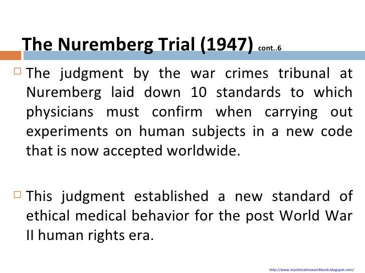 nuremberg code This timely and definitive book examines the nature, scope and proper place of  the nuremberg code in medical research nuremberg has not only played a.