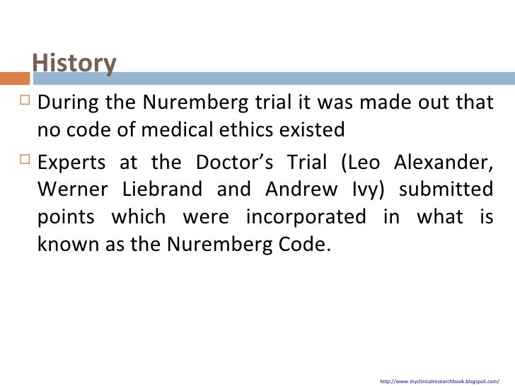 nuremberg code The nuremberg code subverts human health and safety by requiring animal modeling ray greekemail author, annalea pippus and lawrence a hansen bmc medical ethics201213:16 © greek et al licensee biomed central ltd 2012 received: 12 february 2012 accepted.