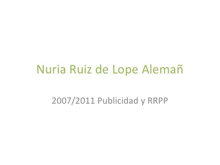 Nuria Ruiz de Lope Alemañ  2007/2011 Publicidad y RRPP