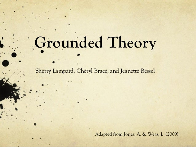 Grounded Theory Sherry Lampard, Cheryl Brace, and Jeanette Bessel Adapted from Jones, A. & Weas, L. (2009)