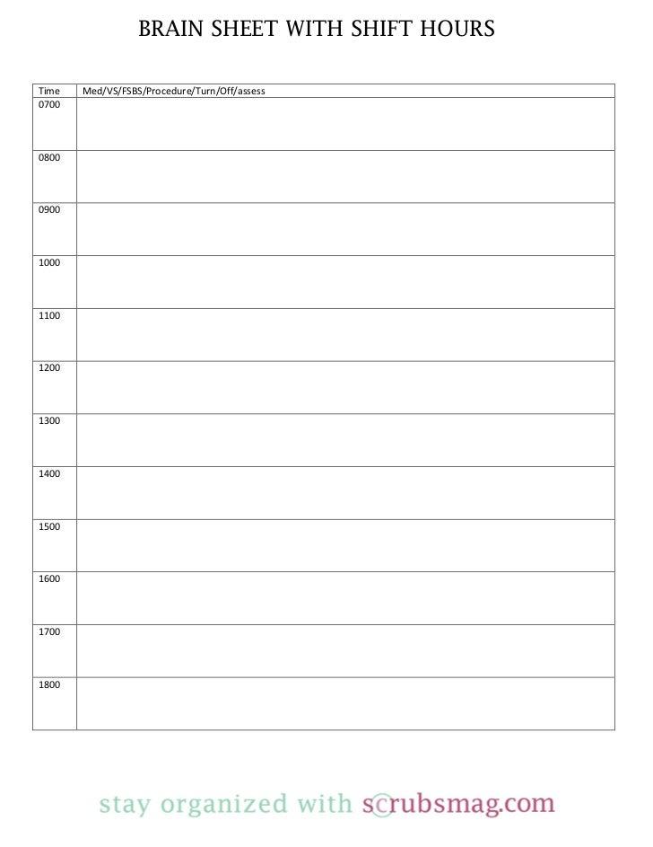 nursing time management sheet