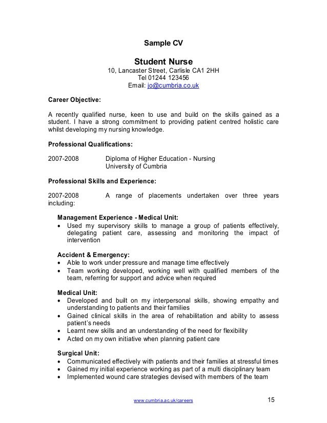 sample cv nursing job. Resume Example. Resume CV Cover Letter