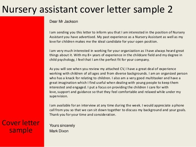 Nursery assistant cover letter