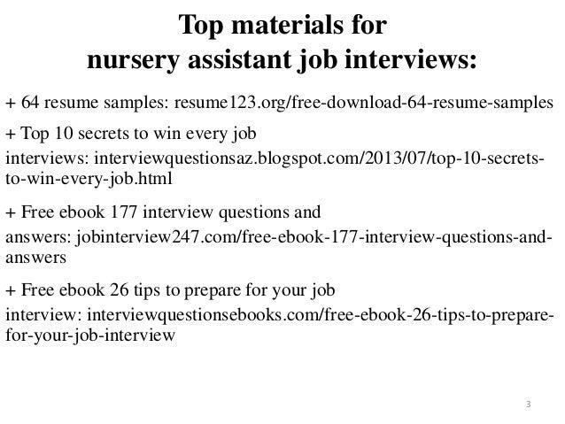 Nursery Assistant Resume Sample Pdf Ebook
