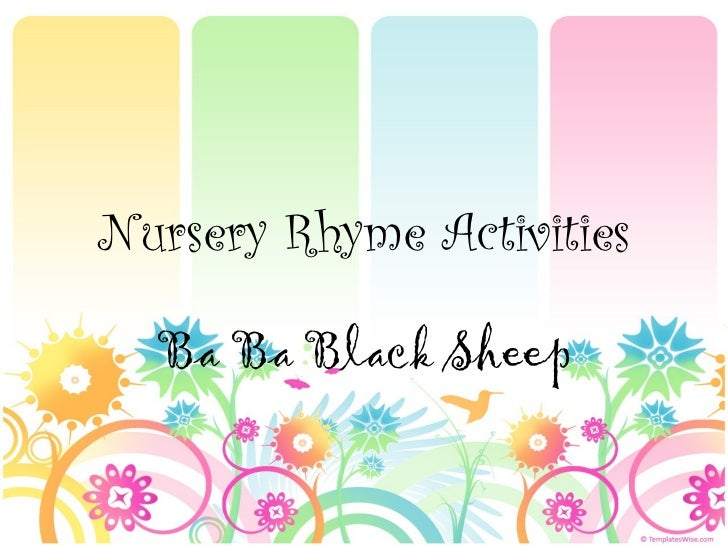 Nursery Rhyme Activities  Ba Ba Black Sheep