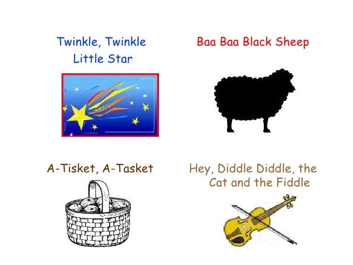 <ul><li>Baa Baa Black Sheep </li></ul><ul><li>A-Tisket, A-Tasket </li></ul><ul><li>Twinkle, Twinkle  </li></ul><ul><li>Lit...