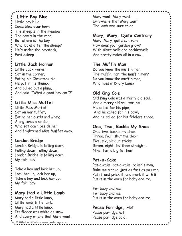 Nursery Rhyme Lyrics; 34.  sc 1 st  SlideShare & 28 Nursery Rhymes with Words and Movements for Active Learning