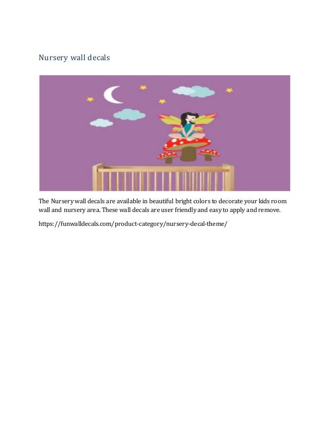 Nursery wall decals The Nursery wall decals are available in beautiful bright colors to decorate your kids room wall and n...