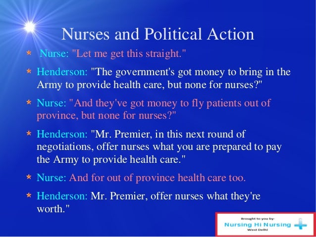 four spheres in political action in nursing I have also thought of this election from the perspective of a nurse  policy and  politics in four spheres of political action in nursing: the workplace, government, .