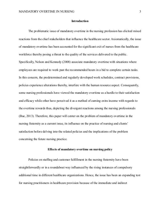 nursing research paper example    healthcare    mandatory overtime in nursing