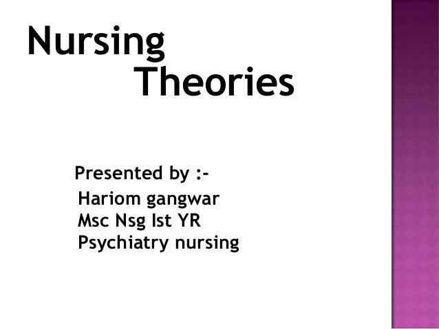 Nursing Theories Presented by :- Hariom gangwar Msc Nsg Ist YR Psychiatry nursing