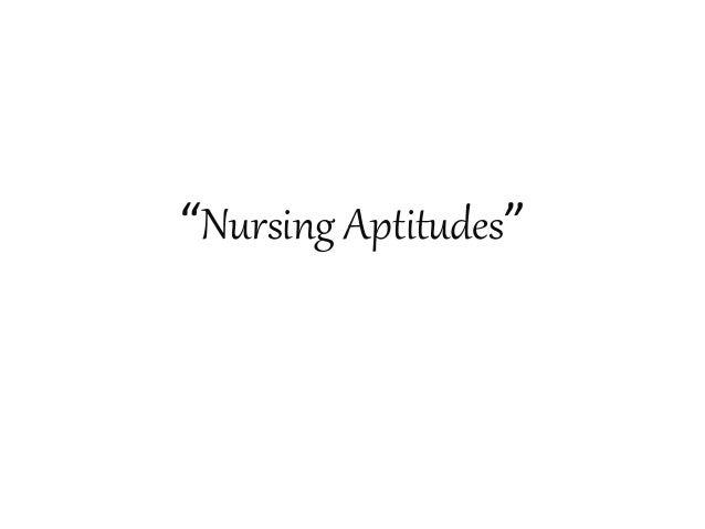 """""""Nursing Aptitudes"""""""