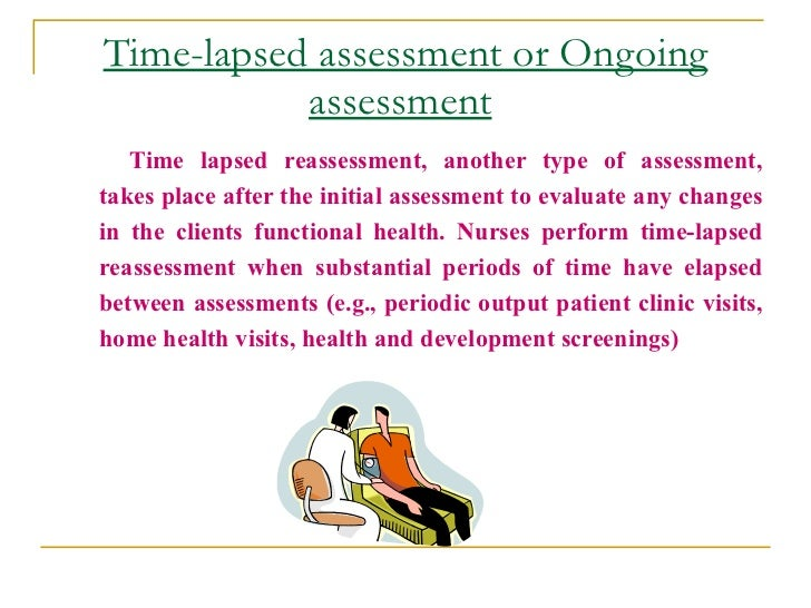 Time-lapsed assessment or Ongoing            assessment    Time lapsed reassessment, another type of assessment, takes pla...