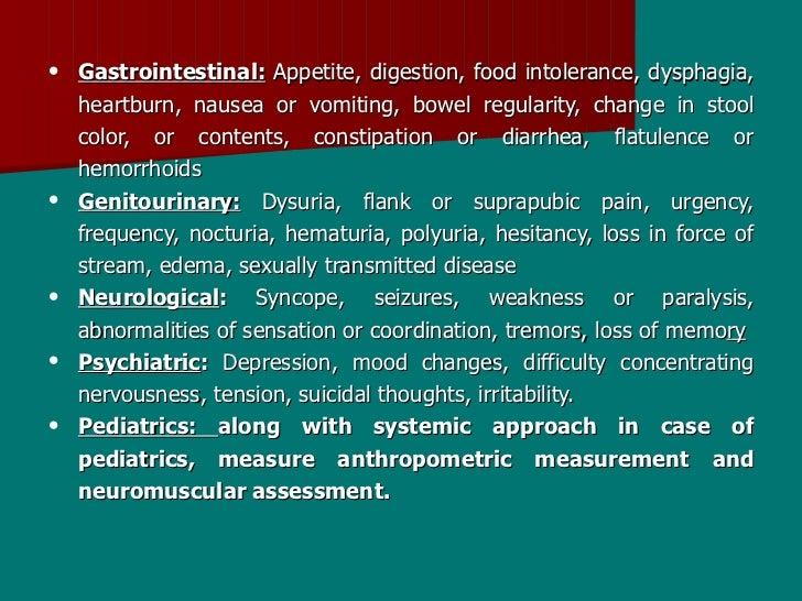 • Gastrointestinal: Appetite, digestion, food intolerance, dysphagia,   heartburn, nausea or vomiting, bowel regularity, c...