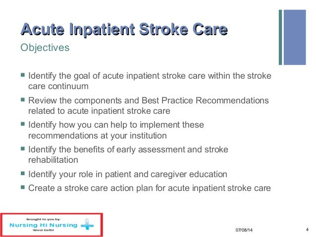 stroke nursing intervention Care guide for right hemispheric stroke (aftercare instructions) includes: possible causes, signs and symptoms, standard treatment options and means of care and support.