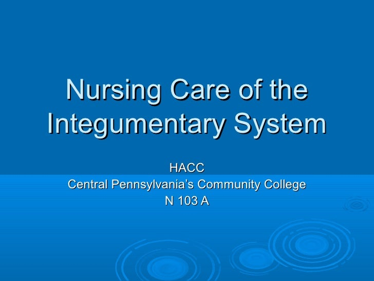 Nursing Care of theIntegumentary System                  HACC Central Pennsylvania's Community College                 N 1...