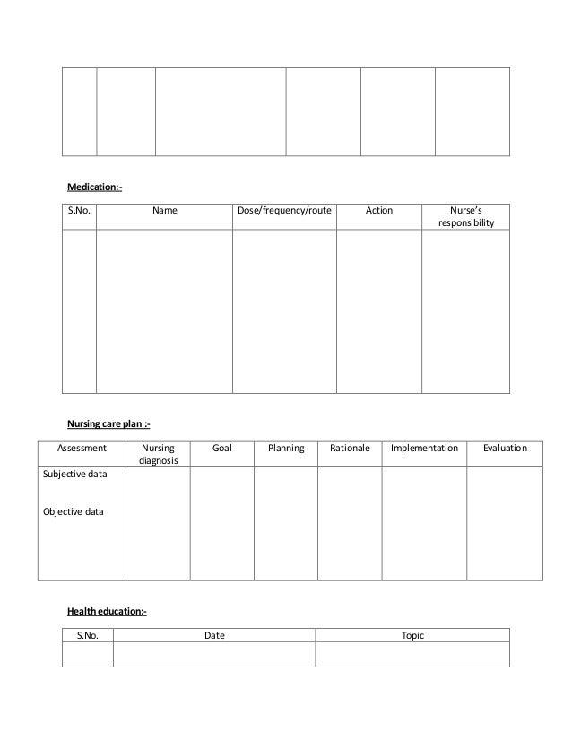 Nursing Care Plan Format