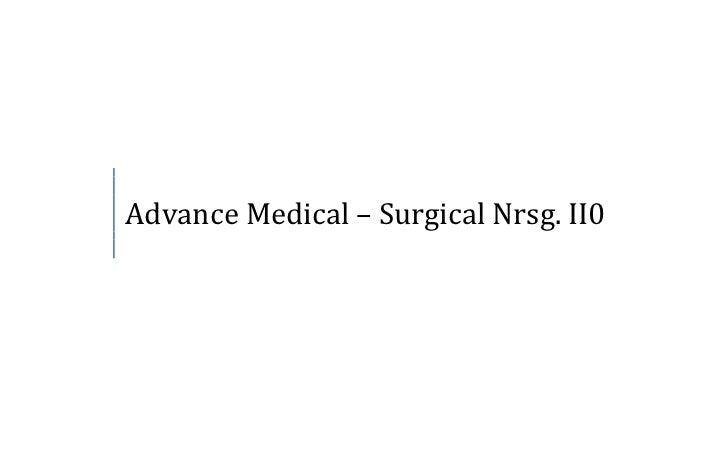 Advance Medical – Surgical Nrsg. II0