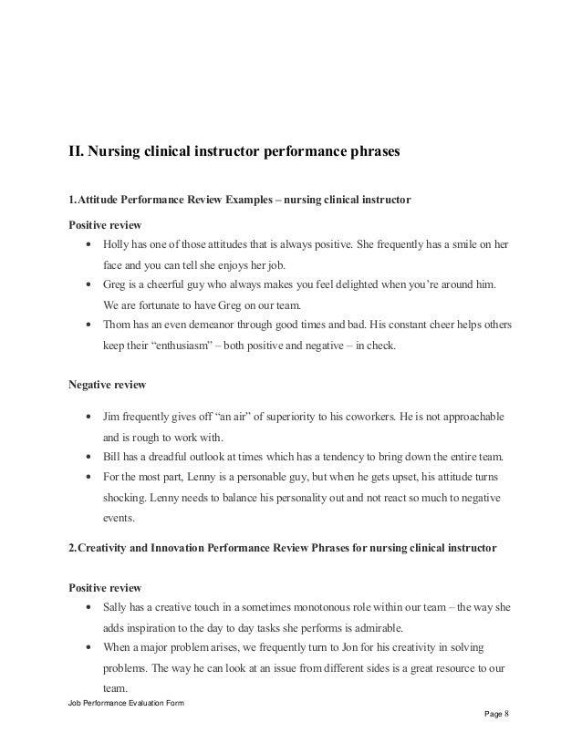 nursing samples of preceptorship written evaluation
