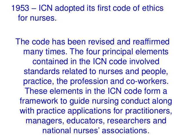 The icn code of ethics for