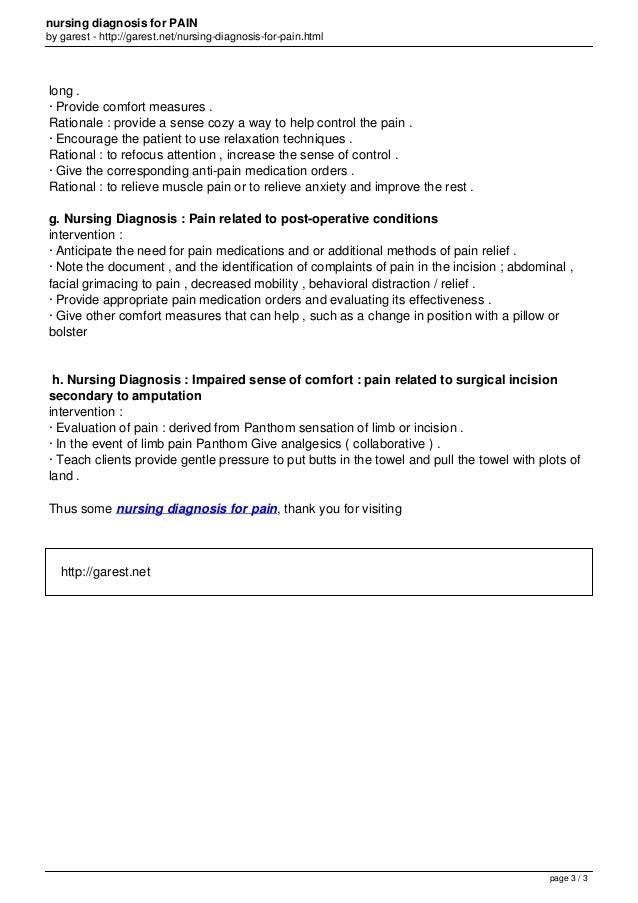 Nursing diagnosis for_pain