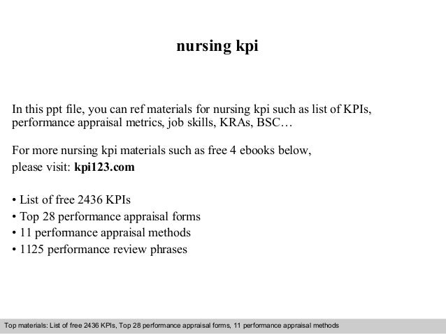 nursing kpi  In this ppt file, you can ref materials for nursing kpi such as list of KPIs,  performance appraisal metrics,...