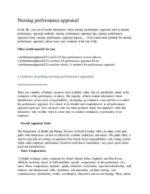 How to write a nursing evaluation tools