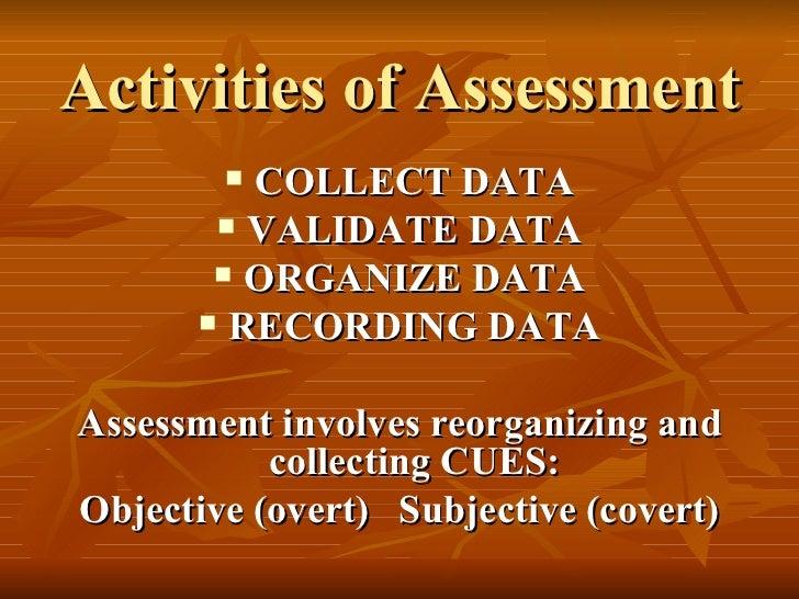 Activities of Assessment <ul><li>COLLECT DATA </li></ul><ul><li>VALIDATE DATA </li></ul><ul><li>ORGANIZE DATA </li></ul><u...