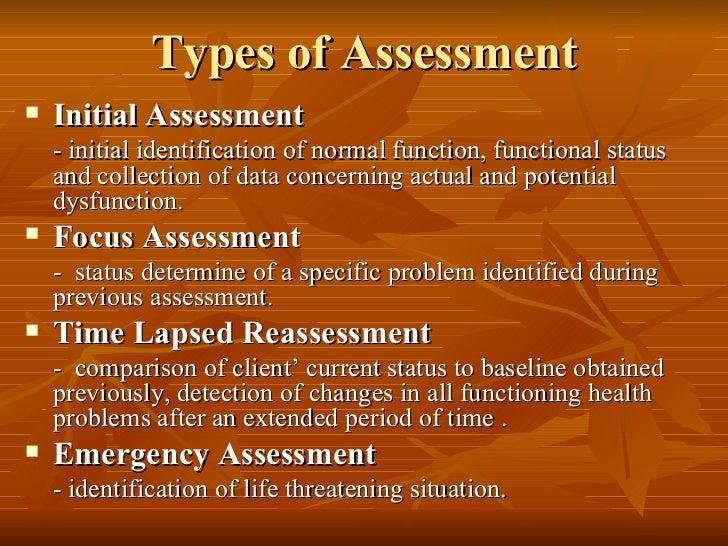 Types of Assessment <ul><li>Initial Assessment </li></ul><ul><li>- initial identification of normal function, functional s...