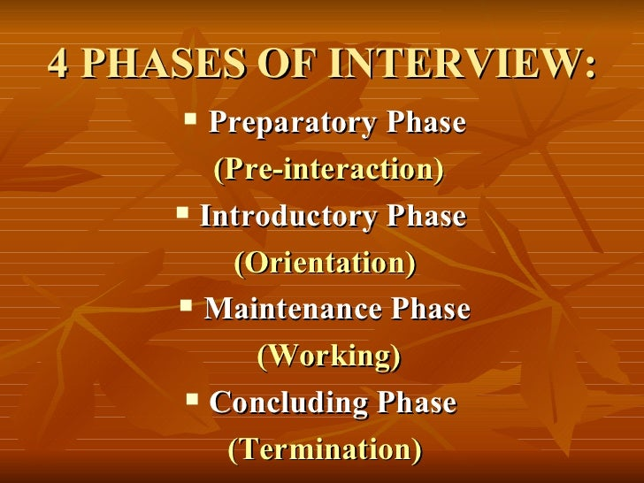 4 PHASES OF INTERVIEW: <ul><li>Preparatory Phase </li></ul><ul><li>(Pre-interaction) </li></ul><ul><li>Introductory Phase ...