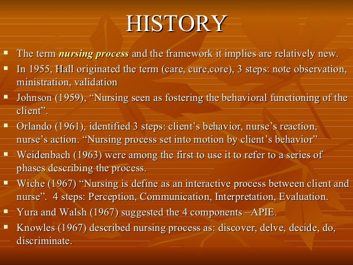 HISTORY <ul><li>The term  nursing process  and the framework it implies are relatively new.  </li></ul><ul><li>In 1955, Ha...