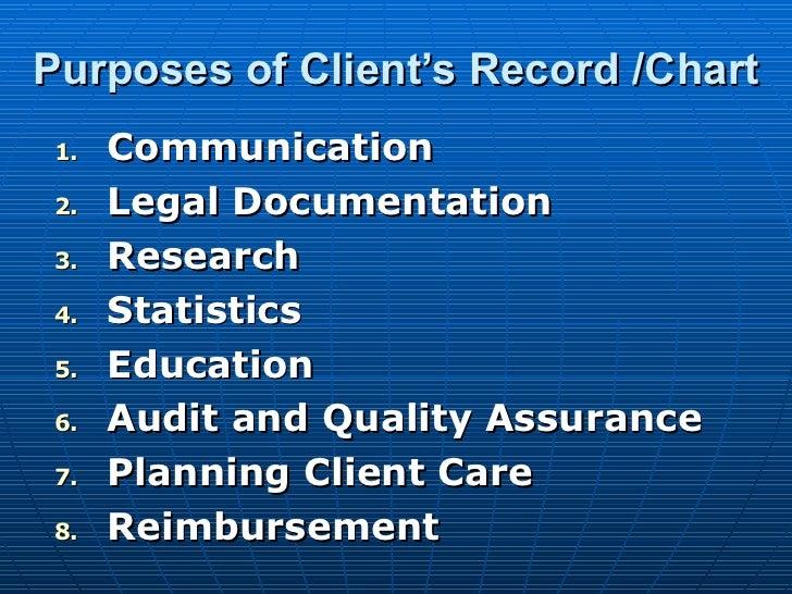 Purposes of Client's Record /Chart <ul><li>Communication </li></ul><ul><li>Legal Documentation </li></ul><ul><li>Research ...