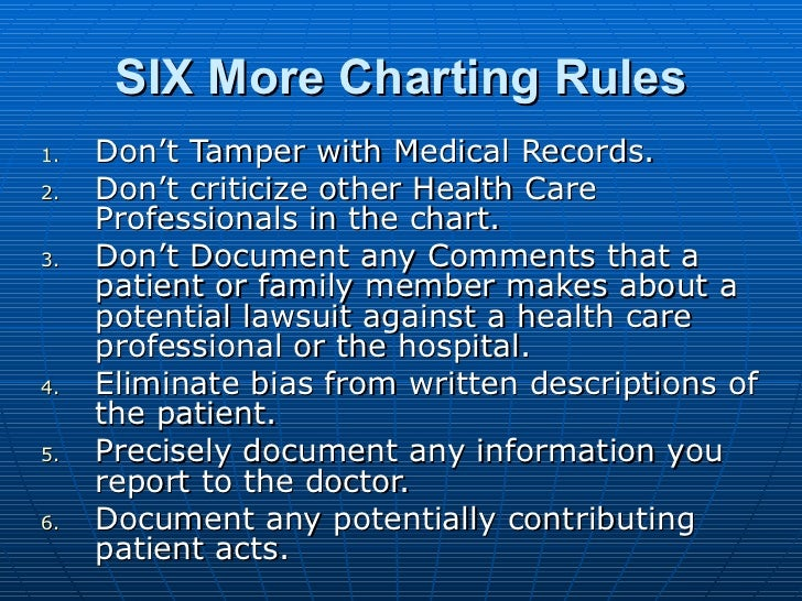 SIX More Charting Rules <ul><li>Don't Tamper with Medical Records. </li></ul><ul><li>Don't criticize other Health Care Pro...