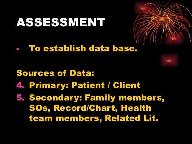 ASSESSMENT <ul><li>To establish data base. </li></ul><ul><li>Sources of Data: </li></ul><ul><li>Primary: Patient / Client ...