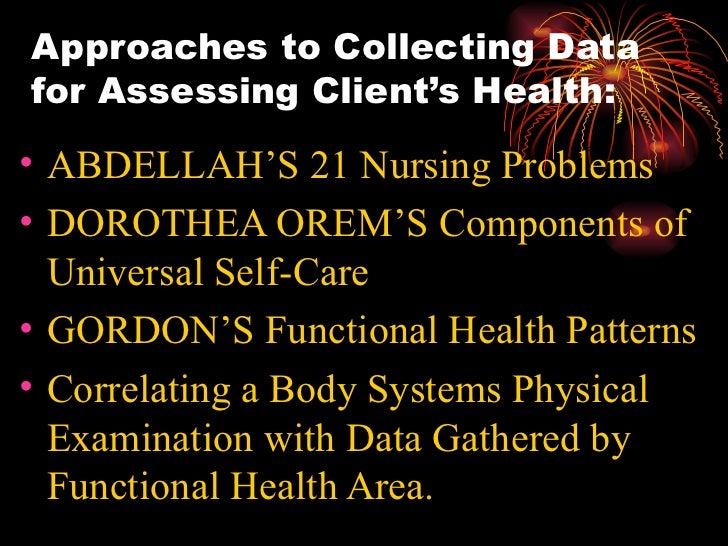 Approaches to Collecting Data for Assessing Client's Health: <ul><li>ABDELLAH'S 21 Nursing Problems </li></ul><ul><li>DORO...