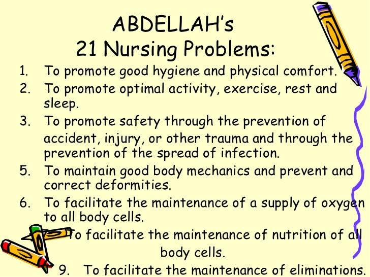 ABDELLAH's  21 Nursing Problems: <ul><li>To promote good hygiene and physical comfort. </li></ul><ul><li>To promote optima...