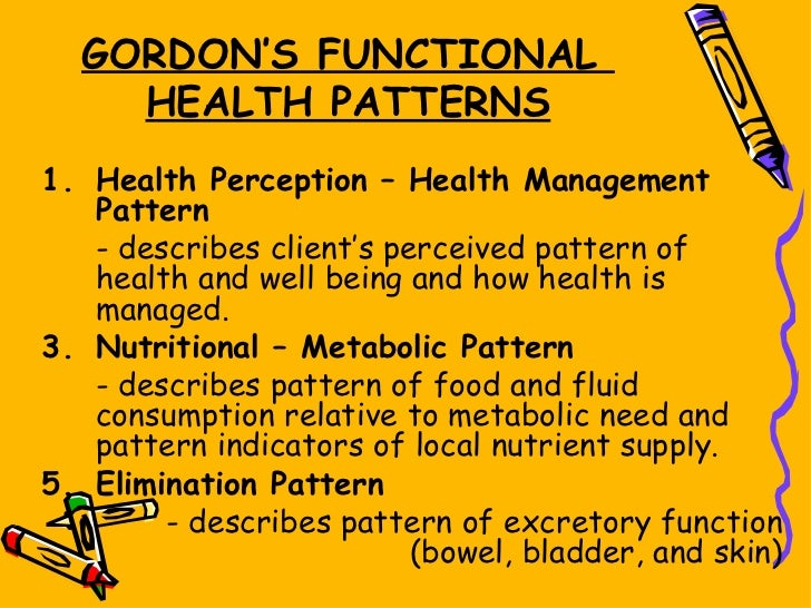 a history perception of health management pattern By: bryce paganas gordon's functional health patterns marjory gordon marjory gordon is a nursing theorist who created a nursing assessment theory known as gordon's functional health patterns dr gordon served as the first president of the north american nursing diagnosis association she has been a.
