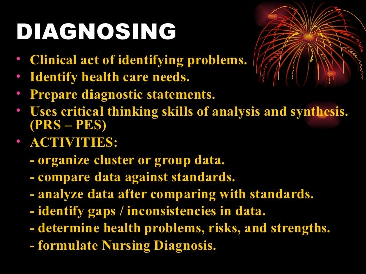 DIAGNOSING <ul><li>Clinical act of identifying problems. </li></ul><ul><li>Identify health care needs. </li></ul><ul><li>P...