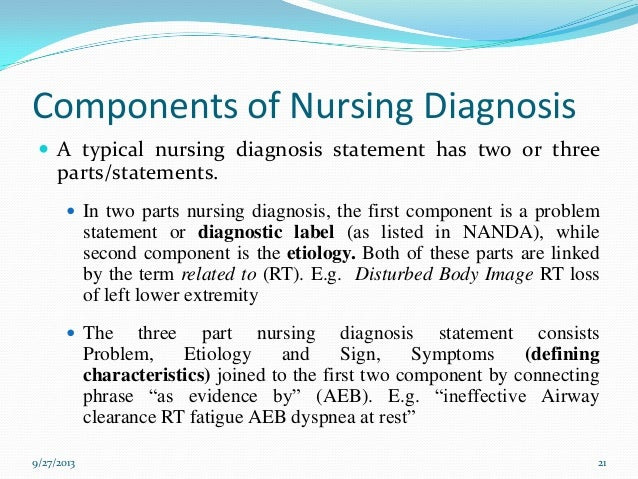 STUDY GUIDE 1 1, NURSING DIAGNOSTIC STATEMENTS AND.