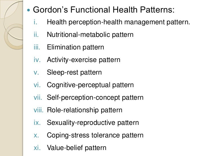 gordons functional health patterns in relation to asthma Health promotion and the individual edelman: who authored the framework which provides the foundation for nursing assessment and diagnosis using the functional health patterns a erikson b gordon c newman d or goals that guide choices or decisions that are related to health.
