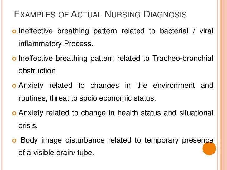 examples of actual nursing diagnosis