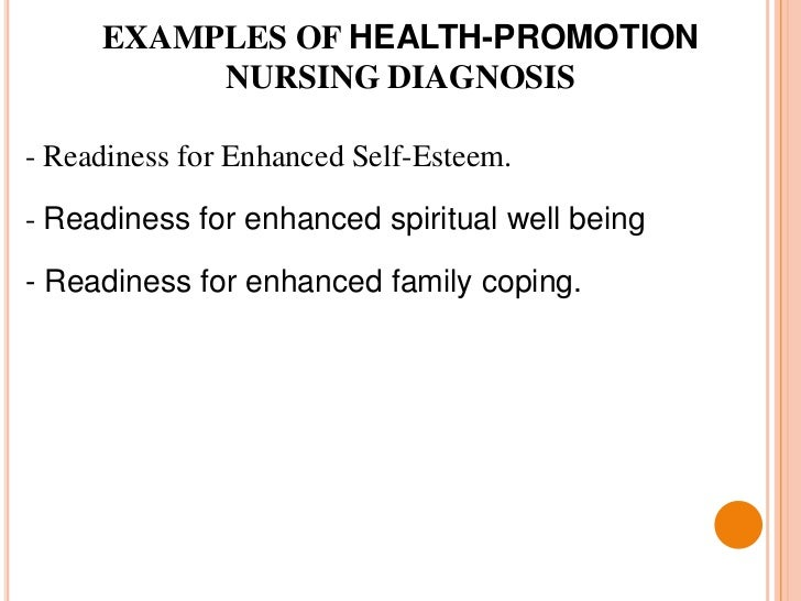 examples of health promotion nursing diagnosis