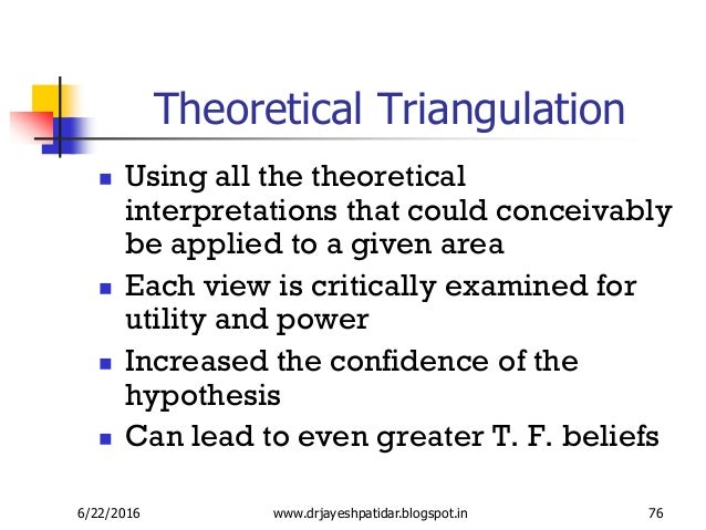 concept triangulation in nursing Philosophy-science-nursing theory - philosophy-science-nursing theory nur 601 nursing theory and role development dr helen hodges sometimes all that is possible is to embrace the mystery, the    powerpoint ppt presentation   free to view.